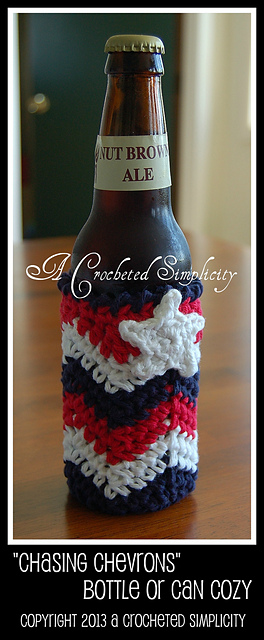 Chasing Chevrons Bottle Can Cozy A Crocheted Simplicity