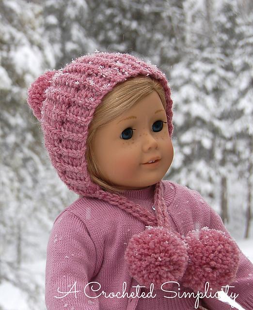 Free Crochet Pattern Winter Poms 18 Doll Hat A Crocheted