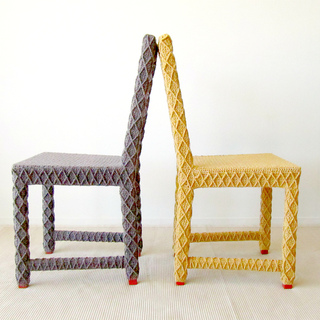 Upcycled_side_chairs_in_yellow_and_brown_back_to_back_small2