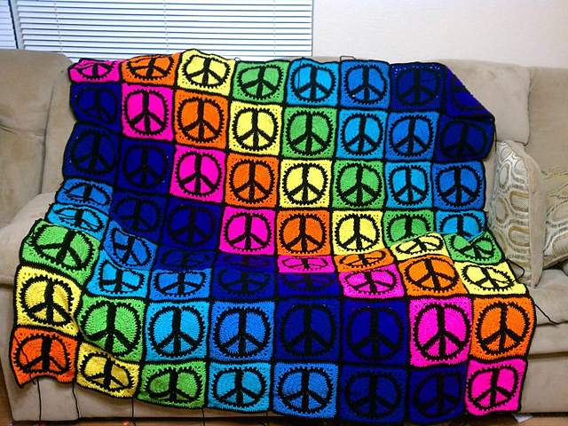 peace sign symbol crochet granny square pattern judy k