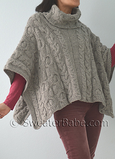 Cowl Neck Poncho Knitting Pattern : Ravelry: #163 Cable Love Cowl Neck Poncho pattern by SweaterBabe