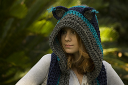 Crochet Pattern Hooded Scarf With Ears : Ravelry: Hooded Scarf with Cat Ears, Cat Scoodie pattern ...