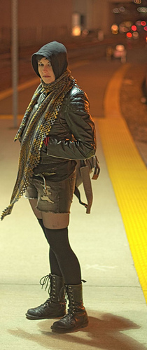 me modelling Duped shawl pattern/cosplaying Sarah Manning in the opening scene of Orphan Black series at the Go station it was shot in