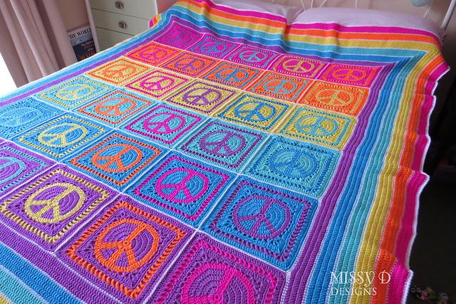 peace sign symbol crochet pattern granny square judy k missy d