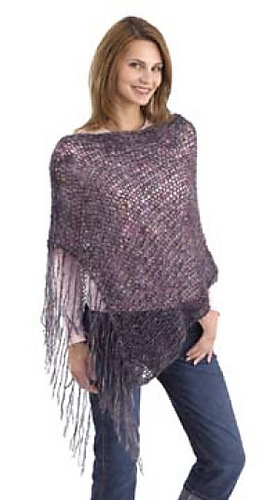 Pattern For Knitted Poncho : Ravelry: Poncho #40457 pattern by Lion Brand Yarn