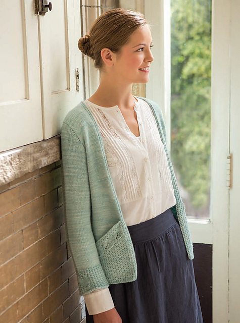 Lacy-Leaf Pocket Cardigan