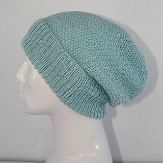 Ravelry: 4 Ply Unisex Moss Stitch Slouch Hat CIRCULAR pattern by Christine Grant