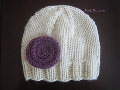 Knitting Patterns For Small Hats : Ravelry: Easy Knit Beanie Hat & Flower 282 pattern by Posh Patterns