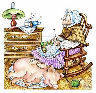 18085690-granny-mit-einem-schwein-hand-gezeichnet-karikaturillustration-alte-frau-strickt-einen-strumpf-sie-w_small2