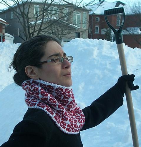 Goofily proud snow-shoveller modelling Jianzhi